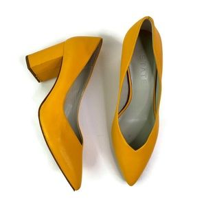 1. State Saffy Gold Block Heel Leather Pump sz 8